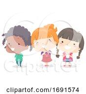 Kids Girls Adjective Pretty Illustration