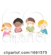 Kids Group Writing Table Illustration