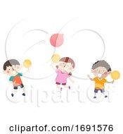 Poster, Art Print Of Kids Indoor Activity Play Balloon Tennis