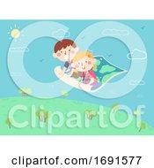 Kids Map Carpet Fly Illustration