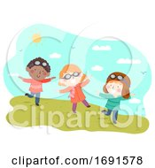 Poster, Art Print Of Kids Play Flying Fields Illustration