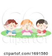Kids Read Book Outdoor Activity Illustration