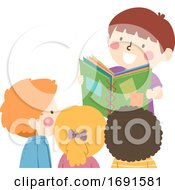 Kids Read Book Illustration