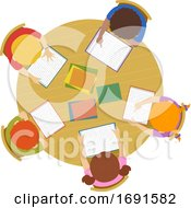 Poster, Art Print Of Kids Read School Table Illustration
