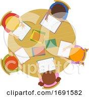 Kids Read School Table Illustration