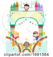 Kids School Arch Bunting Background Illustration