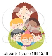 Kids Teacher Hug Illustration