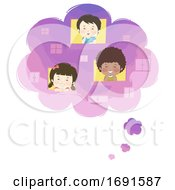 Kids Thought Bubble Window Dreams Illustration
