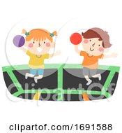 Poster, Art Print Of Kids Trampoline Dodgeball Illustration