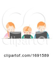 Poster, Art Print Of Kids Different Ages Sibling Laptop Illustration