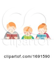 Poster, Art Print Of Kids Different Ages Read Book Illustration