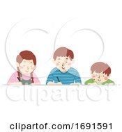 Kids Different Ages Write Illustration
