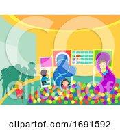 Poster, Art Print Of Stickman Kids Area Indoor Illustration