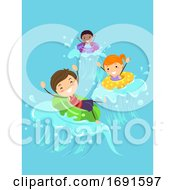Stickman Kids Float Pool Waves Illustration
