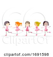 Stickman Kids Girls Figure Skating Illustration