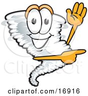 Tornado Mascot Cartoon Character Waving And Pointing To The Right
