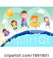 Stickman Kids Jump Pool Illustration