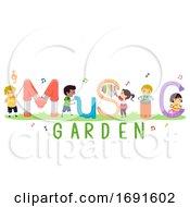 Poster, Art Print Of Stickman Kids Music Garden Illustration