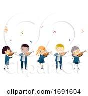 Poster, Art Print Of Stickman Kids Play Violin Uniform Illustration