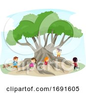Stickman Kids Silk Cotton Tree Play Illustration