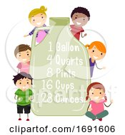 Stickman Kids Gallon Equivalent Illustration