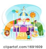 Poster, Art Print Of Stickman Kids Aquatic Play Area Illustration