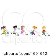 Stickman Kids Clean Game Mop Race Illustration