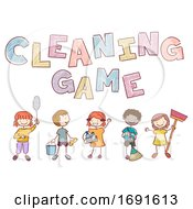 Poster, Art Print Of Stickman Kids Cleaning Game Illustration