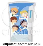 Stickman Kids Door Chemistry Class Illustration