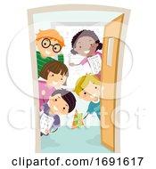 Stickman Kids Door Math Class Illustration