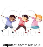 Poster, Art Print Of Stickman Kids Group Dub Pose Illustration