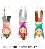 Stickman Kids Group Hand Stand Pose Illustration