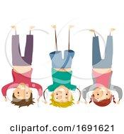 Stickman Kids Group Head Stand Pose Illustration