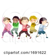 Stickman Kids Hero Group Pose Illustration