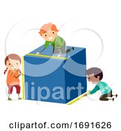 Poster, Art Print Of Stickman Kids Measure Cube Height Width Length