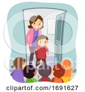 Stickman Kids Mom Visit Friend Illustration