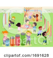 Poster, Art Print Of Stickman Kids Musical Sensory Garden Illustration