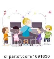 Poster, Art Print Of Stickman Kids Piano Teacher Illustration