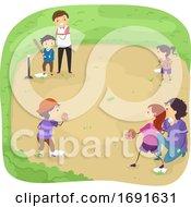 Stickman Kids Play Tee Ball Field Illustration