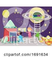 Stickman Kids Room Space Theme Illustration