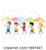 Stickman Kids Umbrella Rain Illustration