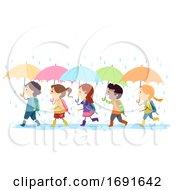 Stickman Kids Umbrella Rain Walk Illustration