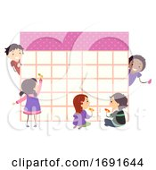 Stickman Kids Write School Calendar Illustration