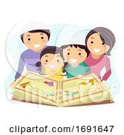 Family Jewish Reading Haggadah Illustration