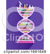 DNA Book Shelf Illustration