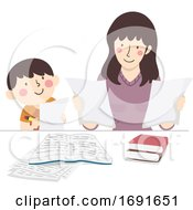 Kid Boy Mother Check Homework Illustration