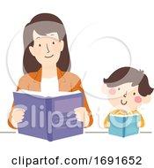 Kid Boy Mother Read Book Together Illustration