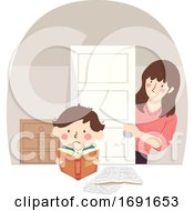 Kid Boy Stressed Study Mother Worried Illustration