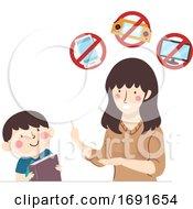 Kid Boy Study Mom No Gadgets Allowed Illustration