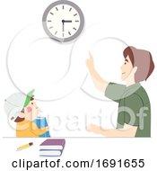 Kid Boy Study Dad Set Schedule Man Illustration